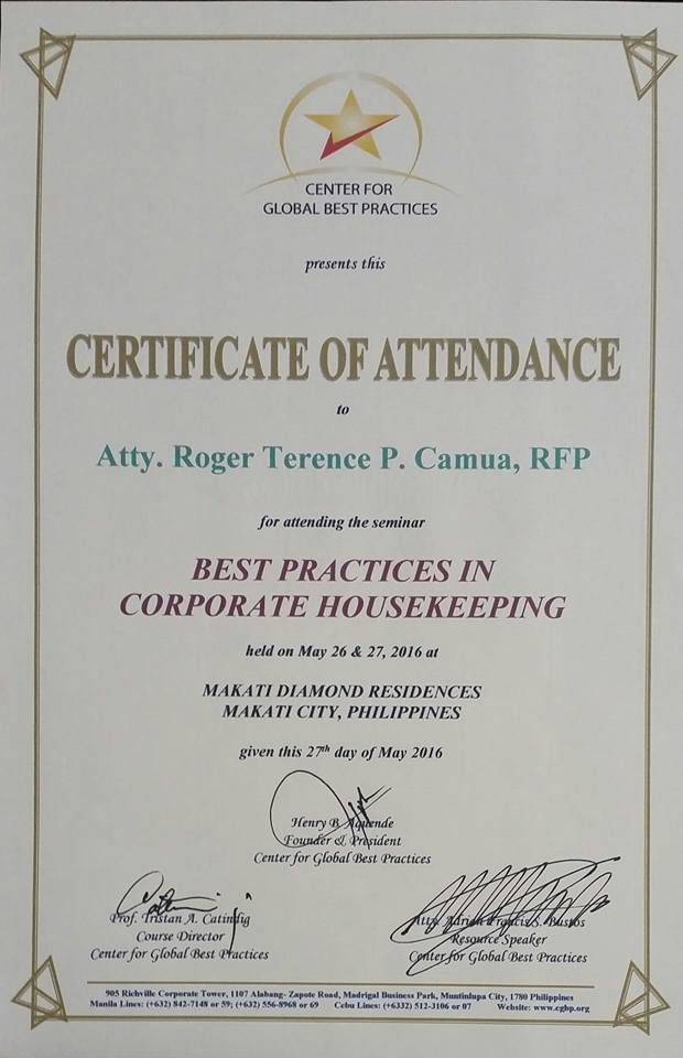 CGBP Corporate Housekeeping